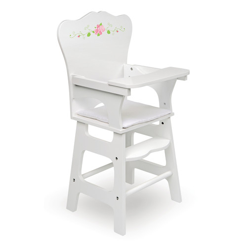 Badger Basket Doll High Chair with Padded Seat - White Rose - Fits Most 18