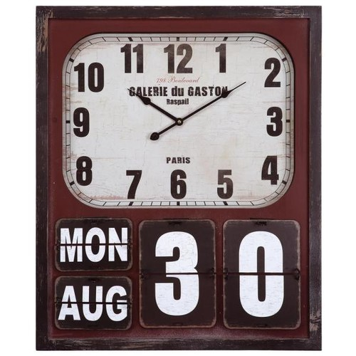 Yosemite Home Decor 27.5 in. x 23 in. Rectangular MDF Wall Clock with Glass in Wooden Cherry Frame