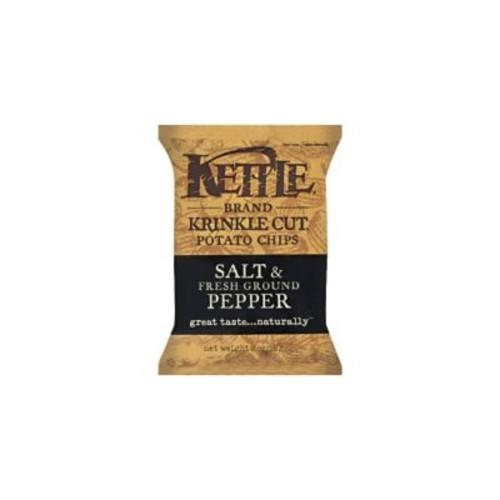 Kettle Brand Krinkle Cut Potato Chips Salt & Fresh Ground Pepper, 24/Pack