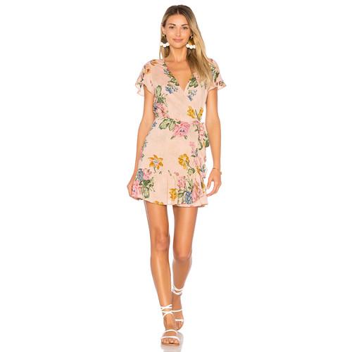 AUGUSTE x REVOLVE Havana Nights Frill Wrap Mini Dress in Blush