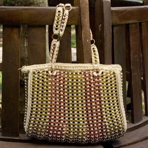 Handmade Soda Pop-top 'Golden Bronze Ipanema' Shoulder Bag (Brazil)