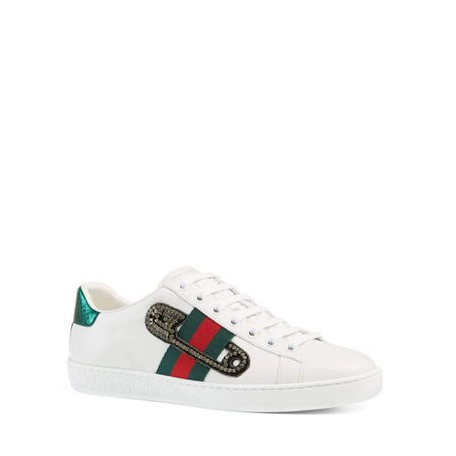 GUCCI Ace Safety Pin Lace Up Low Top Sneakers