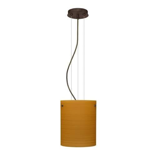Besa Lighting 1KG-4006OK-LED Tamburo 1 Light LED Cable-Hung Pendant with Oak Glass Shade [Finish : Bronze Finish]