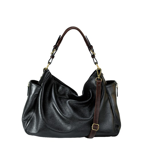 RHAPSODIC Pebble Leather Hobo-Style Shoulder Bag with Padded Top Handle and Adjustable Strap