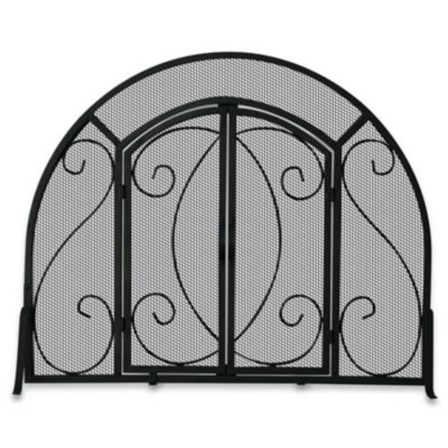 UniFlame S-1062 Black Wrought Iron Single-Panel Fireplace Screen with Doors