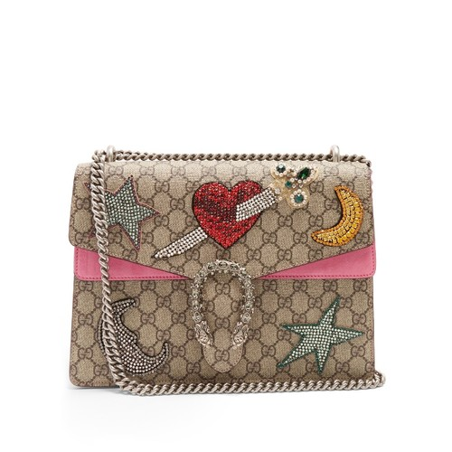 GUCCI Dionysus Gg Supreme Embellished Shoulder Bag