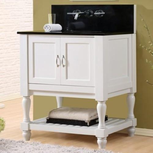 Direct Vanity Sink Mission Turnleg Spa Premium 32'' Single Bathroom Vanity Set; Black Granite