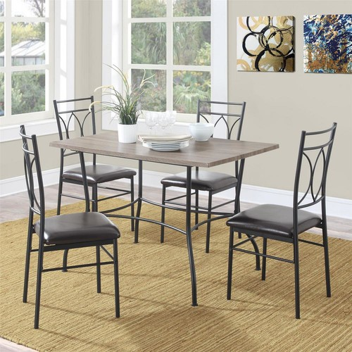 Dorel Shelby 5-Piece Rustic Black Wood and Metal Dining Set
