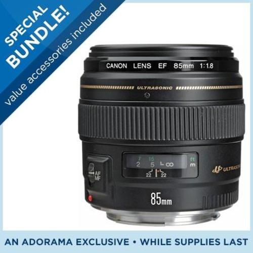 Canon EF 85mm f/1.8 USM Lens, USA - Special Promotional Bundle 2519A003 KZ
