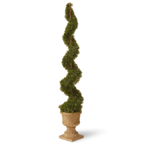 48-inch Upright Juniper Spiral Tree with Decorative Urn