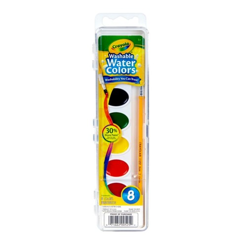 Crayola Washable Watercolor Set With Brush, Assorted Colors