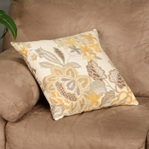 Desi Green Floral Feather Filled Throw Pillow
