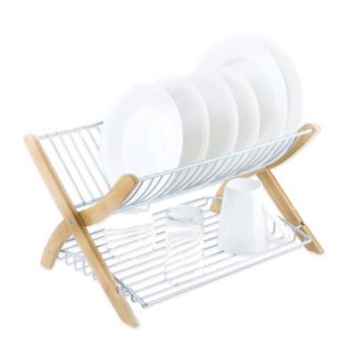 Umbra Stack Dish Rack in Bamboo/Nickel