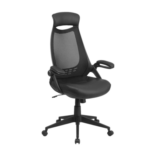 Offex High Back Black Mesh Executive Swivel Office Chair With Leather Padded Seat And Flip-Up Arms [