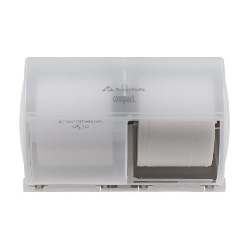 Georgia-Pacific Compact 56797 Translucent White Side-By-Side Double Roll Bathroom Tissue Dispenser [Translucent Smoke]