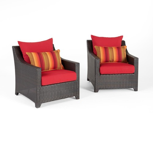 RST Brands Deco 2-Piece All-Wather Wicker Patio Club Chair Seating Set with Sunset Red Cushions