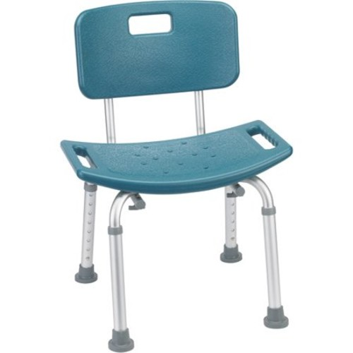 Drive Medical Teal Bathroom Safety Shower Tub Bench Chair with Back