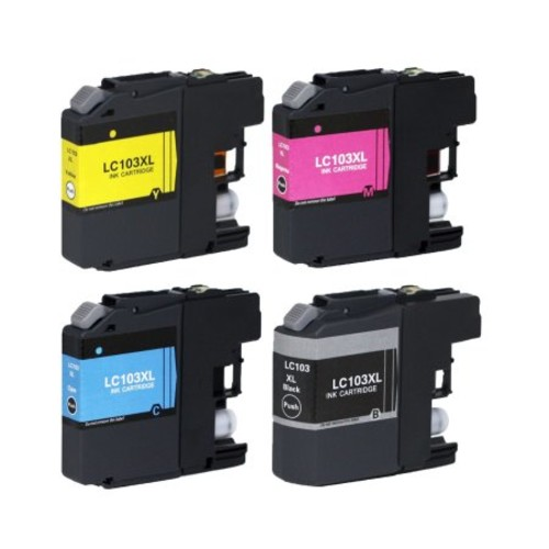 4 Pack New Compatible with Brother LC103 BK C M Y XL Ink Cartridge For MFCAN-J4410DW MFCAN-J4510DW 600 page yield