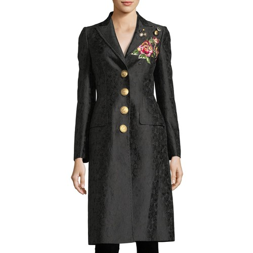 DOLCE & GABBANA Embroidered Jacquard Mid-Length Coat