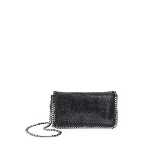 STELLA MCCARTNEY Falabella Embellished Faux-Leather Chain Clutch