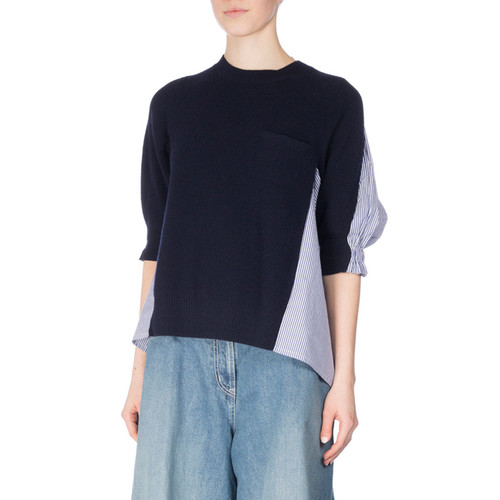 Ribbed Knit Sweater w/Poplin Back