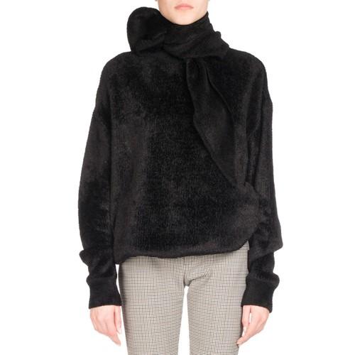 BALENCIAGA Hooded Velour Sweatshirt, Black (Noir)