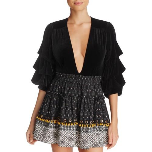 Linde Bell-Sleeve Velvet Bodysuit