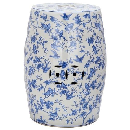 Safavieh Paradise Swallows White Ceramic Garden Stool