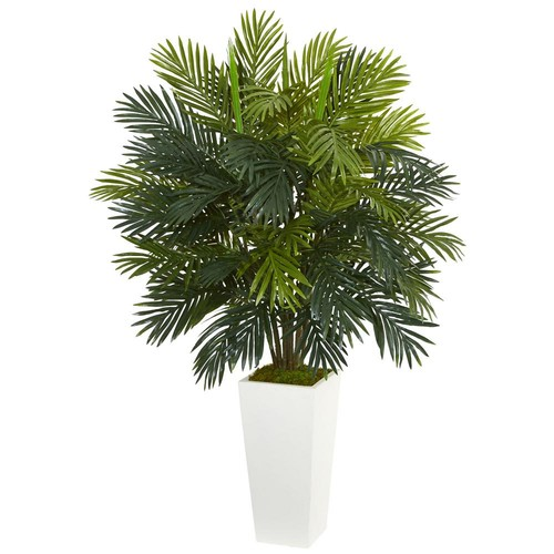Nearly Natural Areca Palm Artificial Plant in White Tower Planter