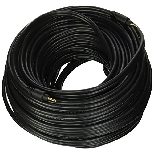 Monoprice 105585 100-Feet Premium Stereo Male to Stereo Male 22AWG Audio Cable - Black [Black, 100ft FT]