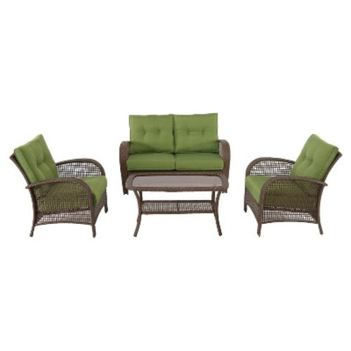 Bridgehampton All-Weather Wicker Patio Conversation Set - Green - Hanover
