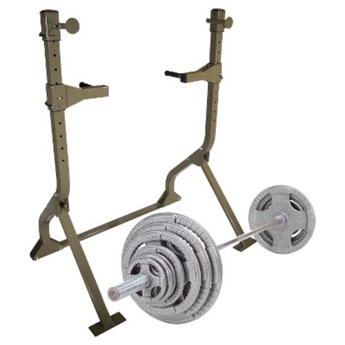 Best Fitness Squat Rack with 300LB Olympic Grip Weight Set - (BFSR10WS)