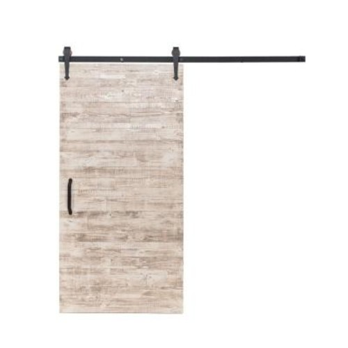 Rustica Hardware 42 in. x 84 in. Rustica Reclaimed White Wash Wood Barn Door with Arrow Sliding Door Hardware Kit