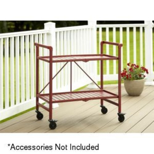 Cosco Metal Slat Folding Serving Cart, Red - 87501RRD1E
