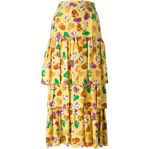 YVES SAINT LAURENT VINTAGE Layered Floral Print Skirt