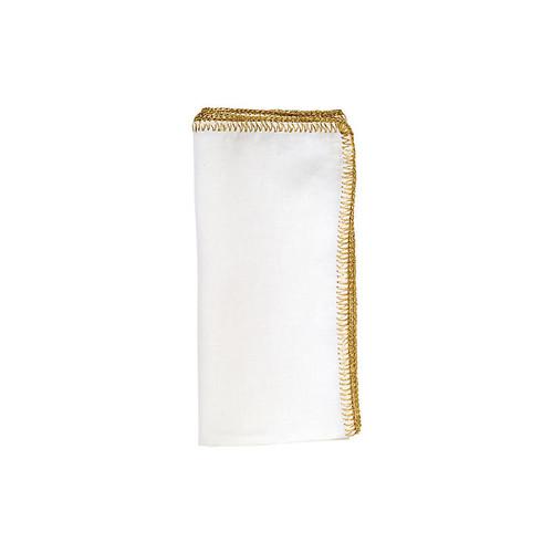 S/4 Crochet Edge Dinner Napkin, White/G