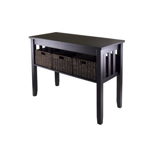 Winsome Morris Console Table with 3 Foldable Baskets
