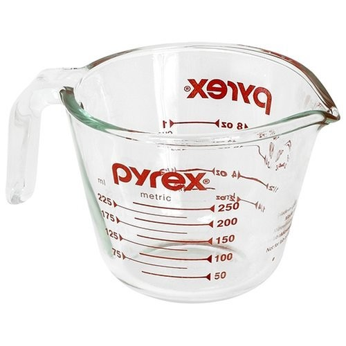 Pyrex Prepware 1-Cup Measuring Cup, Clear with Red Measurements [Standard Packaging, 1 Cup]