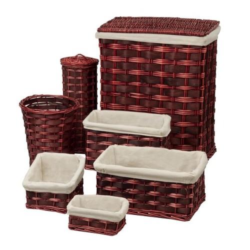 7 Piece Wicker Laundry Hamper and Waste Basket Set