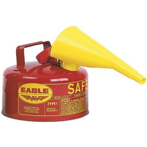 Eagle UI-10-FS Red Galvanized Steel Type I Gasoline Safety Can with Funnel, 1 gallon Capacity, 8