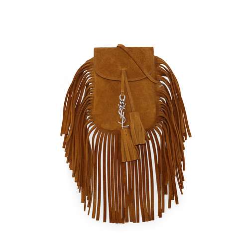 SAINT LAURENT Anita Mini Flat Shoulder Bag W/Fringe, Tan