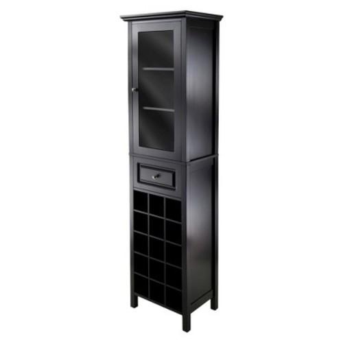 Wine Cabinet Wood/Black - Winsome