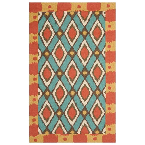 Safavieh Four Seasons Stain Resistant Hand-hooked Light Blue Rug (5' x 8')