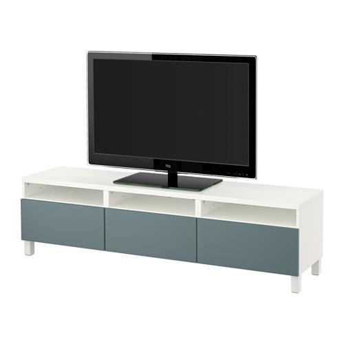 BEST TV unit with drawers, white, Valviken gray-turquoise [drawer : drawer runner, soft-closing]