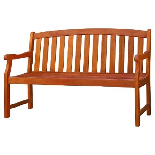 Vifah Outdoor 2-Seater Wood Bench - Brown
