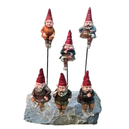 Toad Hollow 6 in. Gnome Shelf Sitters and Garden Stakes (6-Pack) with Removable 8 in. Metal Garden Stakes