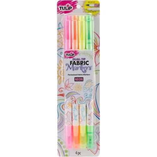 I Love To Create Tulip Dual-Tip Fabric Marker Set, Neon