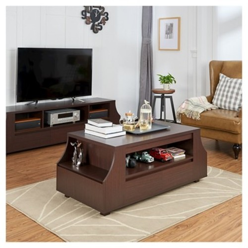 Carmona Contemporary Multi-storage Coffee Table with Side Shelves Walnut - HOMES: Inside + Out