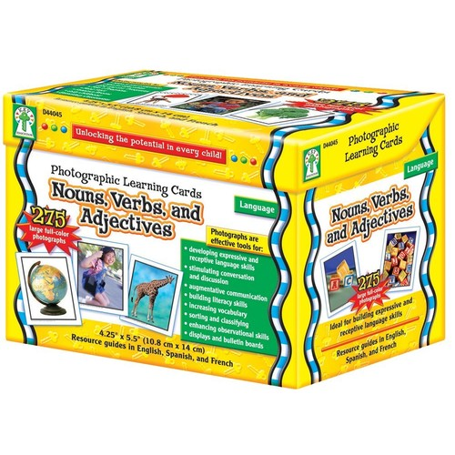 Carson Dellosa Photographic Learning Cards Boxed Set, Nouns/Verbs/Adjectives, Grades K-12 (CDPD44045), Grades de Photographic Math Learning D44046.., By Carson-Dellosa