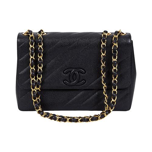 Chanel Black Caviar Diagonal Jumbo Bag